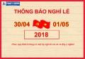 Lịch nghỉ lễ 30/04 và 01/05 năm 2018 của Cửa cuốn Fancydoor Việt Nam